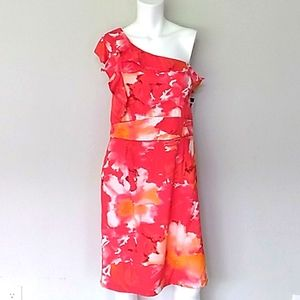 Zoda One Shoulder Red Floral Ruffle Dress. NWT